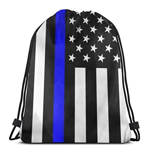 fenrris65 Drawstring Bag Blue Lives Matter Flag String Backpack Terylene for Men Women