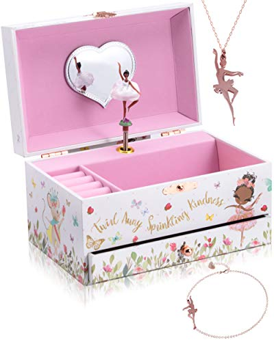 The Memory Building Company Musical Black Ballerina Jewelry Box for Girls & Little Girls Jewelry Set - 3 Dancer Gifts for Girls