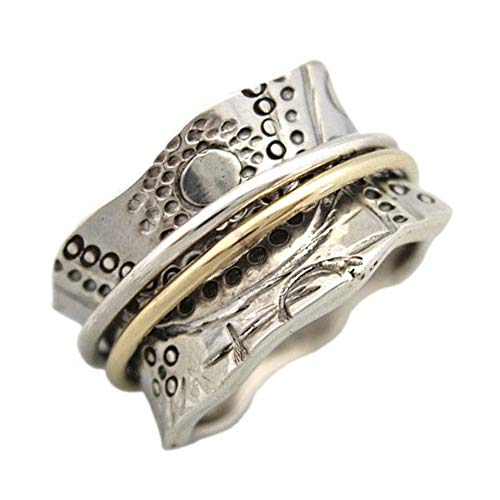 Energy Stone Sun Worship Far East Styling Sterling Silver Meditation Spinner Ring for Women with Brass and Silver Spinners (Style US14) (10)