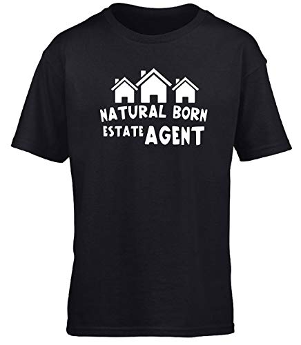 Hippowarehouse Natural Born Estate Agent Kids Children's Short Sleeve t-Shirt Black