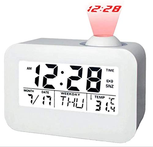 Alarm Clock for Bedroom Projection Alarm Clock Talking Clock plafondlamp Klokken Battery Backup Time Alarm Desk Clock Auto Time/Temperatuur/Date/Day Display met Dimming Tijdprojector witte Bedro