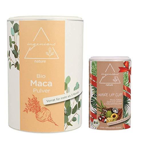 ingenious nature® Laborgeprüftes Bio Rotes Maca Pulver 500g + Geschenkdose vom neuen WAKE UP CUP, ohne Zusätze, Rohkostqualität, vegan