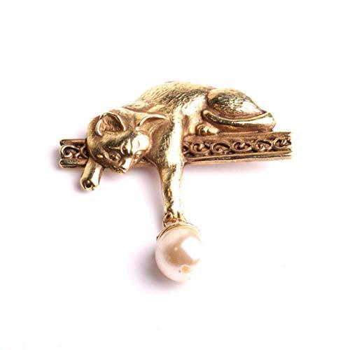 Broche femme chat perle pendentif fibule originale métal...