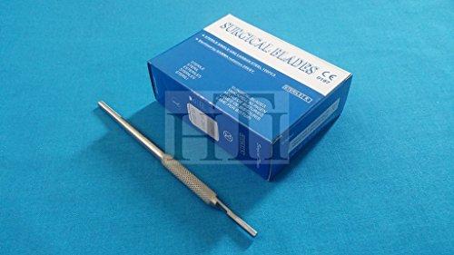 100 Scalpel STERILE Blades #15C with Free Round Scalpel Handle #3 (HTI BRAND)