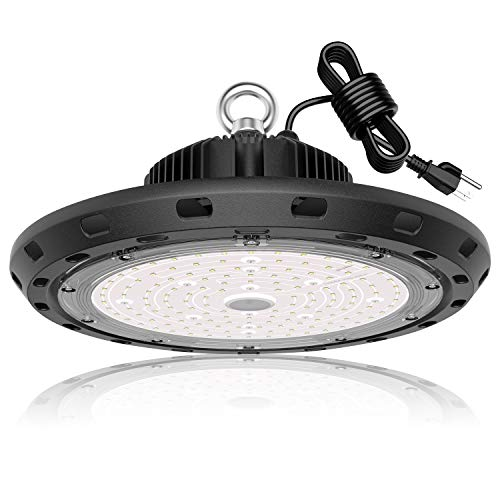 LED High Bay Light 100W 15,000lm 5000K Daylight 400W MH/HPS Equivalent with US Plug 5' Cable UFO LED Shop Lights Commercial Warehouse Workshop Garage Factory Lowbay Area Lighting Fixture, Non-Dim