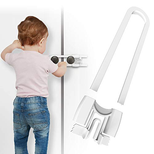 Cabinet Handle Locks (8-Pack) 5 1/4 Inch by Skyla Homes - Multi-Purpose Child Safety Lock Hassle Free Best for Baby Proofing Strong ABS Free Plastic Knob Cover Baby Proof