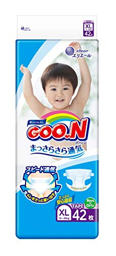 GOO.N Diapers XL Size (27-44 lb) Unisex, 42 Count with tape straps, ULTRA DRY + ULTRA SOFT, Made in Japan