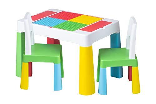 Kindertisch mit 1x | 2X Kinderstuhl Tega® Ablagefach Fläche zum Malen Garten Zuhause (Mehrfarbig, 2X Kinderstuhl)