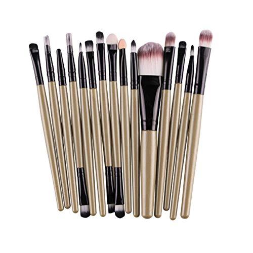 SDHF Maquillage Pinceaux fard à paupières Sourcils Cils Fondation Pinceau Poudre pinceaux de maquillage, 15pcs (Couleur : Brown Black, Size : One Size)