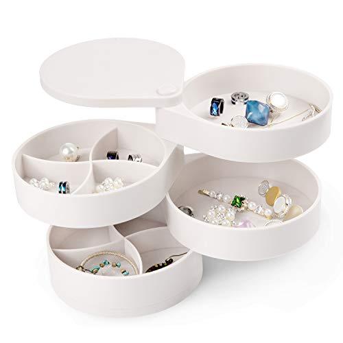 Comius Sharp Caja Joyero Organizador Rotación de 360° con Tapa Almacenamiento, Caja Joyero Organizador de Almacenamiento de Joyas 4 Niveles, para Anillos, Pendientes, Pulseras y Collares (Negro)