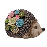TERESA'S COLLECTIONS 8.3 Inch Hedgehog Garden Statues, Adorable Succulent Hedgehog Garden Figurines with Solar Powered Garden Lights for Outdoor Patio Yard Decorations (Resin)