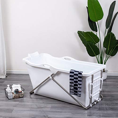 Schwänlein® mobile badewanne Faltbare Badewanne 128cm mit Seifenkorb, Nackkissen, Hocker. Praktisch und Tragbar (white)