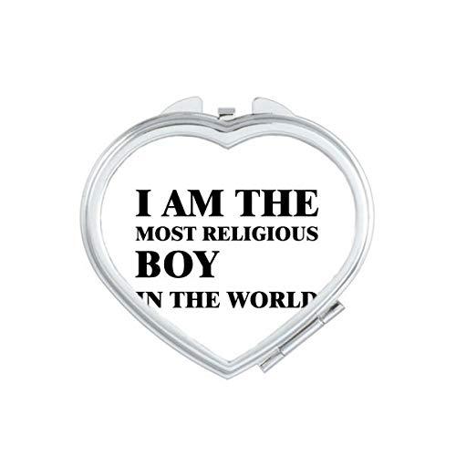 DIYthinker Je suis Le Maquillage Compact Religieux Boy Coeur Miroir Portable Mignon de Cadeau Miroirs de Poche à la Main Multicolor