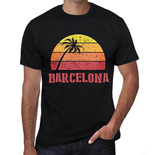One in the City Hombre Camiseta Vintage T-Shirt Gráfico Barcelona Sunset Negro Profundo