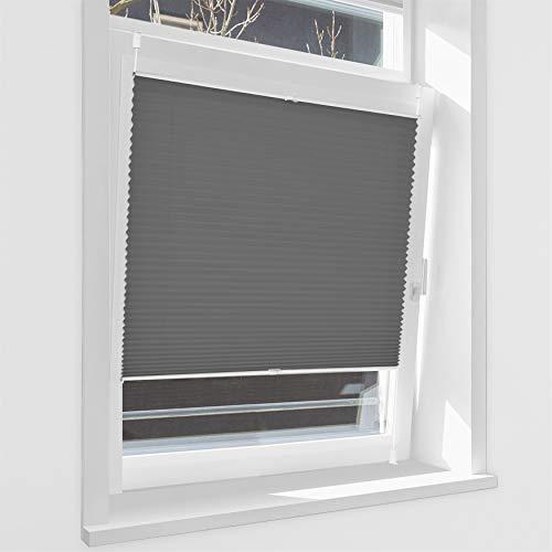HOMEDEMO Plissee Klemmfix ohne Bohren Jalousien (Anthrazit, 80x130cm) Plisseerollo Fensterrollo mit Klemmträger, Faltrollo Klemmrollo Sicht-und Sonnenschutz Rollos für Fenster & Tür