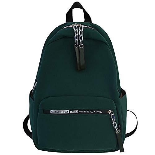 Kawaii Modieuze rugzak met ketting, voor dames, schooltassen, jongeren, rugzak van nylon, Donker Groen (Groen) - wwttoo 20/8-351