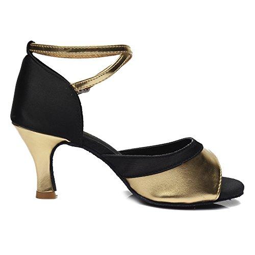 HROYL Damen Tanzschuhe/Latin Dance Schuhe Satin Ballsaal Modell-D7-806 Gold 36 EU - 8