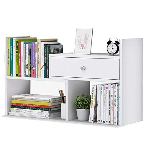 Estantería Desktop Bookshelf Contador de libros con 1 cajones de escritorio Almacenamiento Organizador Mostrar estantería Estantería Empresa Librería para suministros de oficina Cocina Cuarto de baño