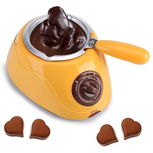 Melting pot électrique de chocolat Fondue au chocolat/fromage Candy Melting Pot avec ensemble de moules bricolage Température réglable sur 2 niveaux pour chocolat, caramel, fromage (Jaune)