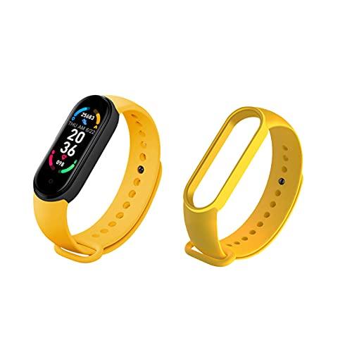 Jiudong Reloj inteligente M6, rastreador de fitness con pantalla a color de 0.96 pulgadas, con contador de pasos, contador de calorías, monitor de frecuencia cardíaca para mujeres y hombres