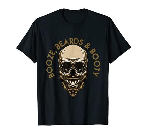 Barber Skull Booze Beards & Booty I Bearded - Figura de calavera Camiseta