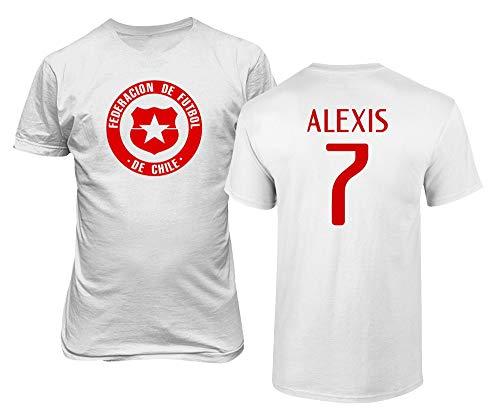 BTA Apparel Chile Fußball #7 Alexis Sanchez Jersey Stil Herren T-Shirt (Weiß, L)