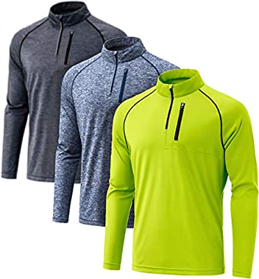 ATHLIO Men's 1/4 Zip Pullover Long Sleeve Shirt, UPF 50+ Quick Dry Running Top, Athletic Quarter T-Shirt, 3pack(dqz01) - Carbon/Spacedye Navy/Neon Yellow, X-Large