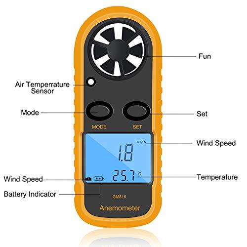 Lorsoul GM816 Digital Viento del anemómetro del Metro del calibrador Velocidad, LCD...