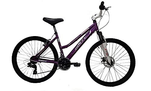 Gotty Bicicleta de montaña MTB Mujer CRS, Aluminio 26', con suspensión Zoom Gama Alta, Cambio Shimano de 18 velocidades y Frenos de Disco. (Violeta)
