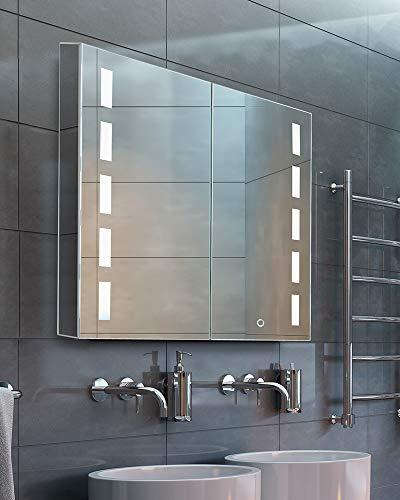 """Bathroom Medicine Cabinet, Aluminum, Recessed/Surface Mount, 30"""" x 30"""", 2 Door, Mirrored w/LED"""