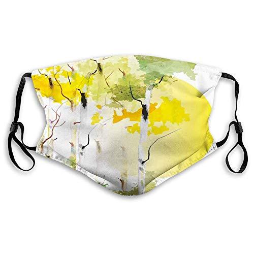 Aktivkohle Winddichte Hauben, Natur, Birkenwaldbüsche Aquarelle mit Big Sun Natural Artwork, Grün Gelb Orange, Gesichtsdekorationen