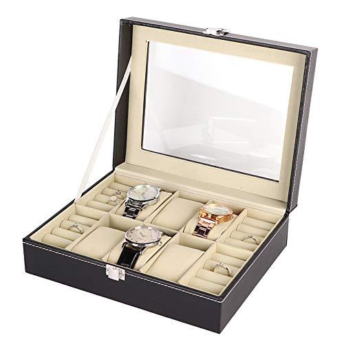 YUYTE Multifunktionale Grids Uhren Aufbewahrungskoffer, Uhrenbox Schmuckbox Uhren Aufbewahrungsuhren Uhrenbox Uhren mit 6 + 4 Fächern - schwarz