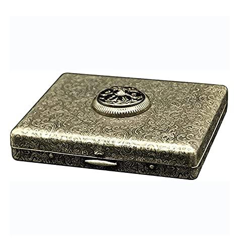 Estuche portátil de Metal para Cigarrillos Retro Cobre Plata Ultrafino Paquete de 20 Cigarrillos para Cigarrillos de tamaño Regular Accesorios Personalizados para Hombres y Mujeres