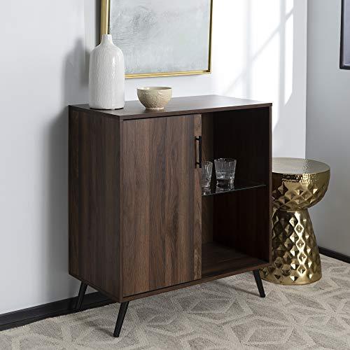 Walker Edison Mid-Century Modern Buffet Sideboard Kitchen Dining Storage Bar Cabinet Living Room, Walnut Brown