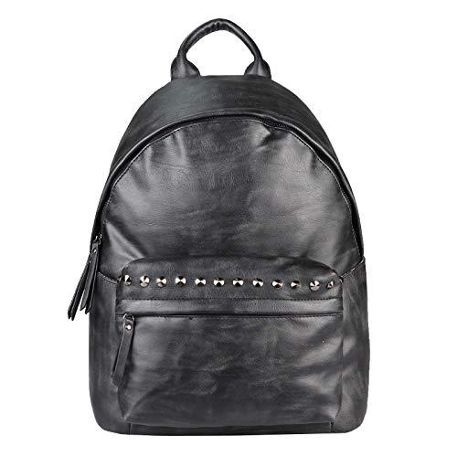 OBC Damen Rucksack Tasche Cityrucksack Stadtrucksack Nieten Backpack Schultertasche Handtasche Umhängetasche Shopper Daypack Freizeit Urlaub (Schwarz 30x35x14 cm)