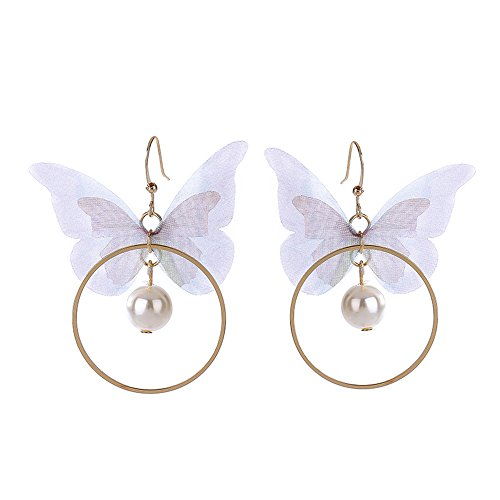 MUZHE Big Hollow Circle Fabric Tassels Pearl Butterfly Drop Earrings Beautiful Wedding Banquet Party Jewelry