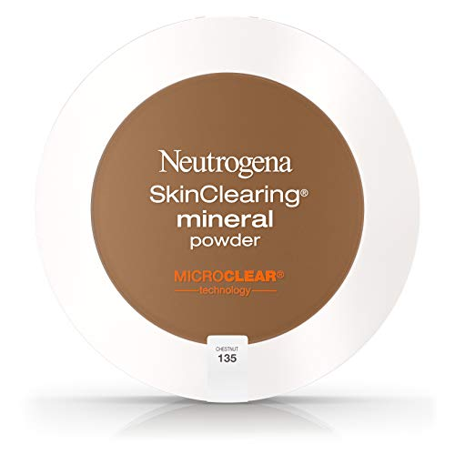 Neutrogena SkinClearing Mineral Acne-Concealing Pressed Powder Compact, Shine-Free & Oil-Absorbing Makeup with Salicylic Acid to Cover, Treat, & Prevent Breakouts, Chestnut 135,.38 oz