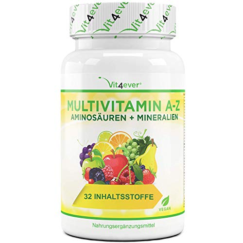 Multivitamin A-Z - 120 Tabletten (4 Monate) - 32 aktive Inhaltsstoffe - Kombination aus Mineralien + Aminosäuren + Spurenelementen + Pflanzenextrakten - Laborgeprüft - Vegan - Hochdosiert