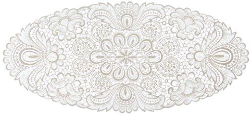 Plauener Spitze by Modespitze 67952 Centrino in pizzo, Design Plauen, colore panna, Cotone, Beige, 30 cm x 60 cm oval
