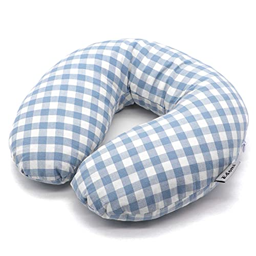 Edomi Buckwheat Neck Pillow Breathable U Shaped Pillow Ergonomic Travel Head Pillow Cervical Neck Cooling Pillows for Sleeping Buckwheat Hulls Filling Removable Cotton Cover (12x12 inch, Blue)