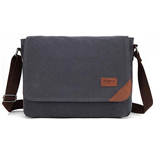 Outreo Tracolla Uomo Borsa per Scuola Borsello Vintage Borse a Spalla di Tela Sacchetto Studenti Borsetta Tablet Sport Tasca Canvas Messenger Bag