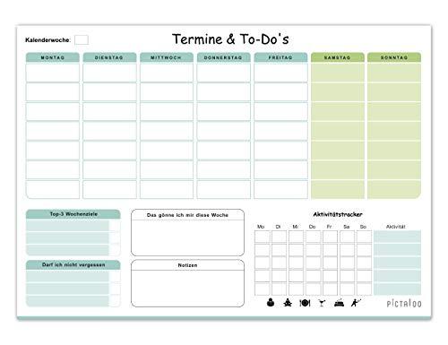 Wochenplaner Block 50 Blatt inkl. Aktivitätstracker, Wochenzielen und Notizen, ohne Datum, praktischer Terminplaner und To-Do-Liste, Tagesplaner, DIN A4 (blau/grün)