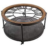 PEGANE Table Basse Pendule en métal - D. 89,5 x H. 47 cm