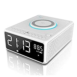 G Keni CD Player Boombox, Alarm Clock Radio, Bluetooth Speaker, Qi Wireless Charger, Digital FM Radio, MP3/USB Music Player, Dual Alarm, Snooze & Sleep Timer, Dimmable Mirror LED Display for Home