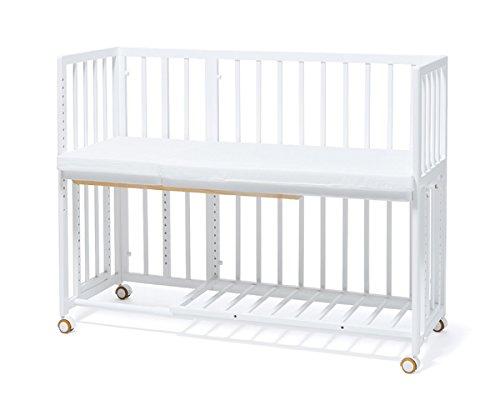大人のベッドにつけて4才まで添い寝できる そいねーる+ ロング ベビーベッド ホワイト  専用敷きマッ...