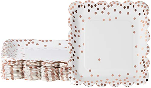 Rose Gold Plates with Scalloped Edging (9 x 9 In, 48-Pack)