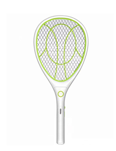 Night Cat Bug Zapper Racket Electric Fly Swatter Racquet Electronic Mosquito Killer with USB Charging LED Lighting Double Layer Protection Detachable Handle