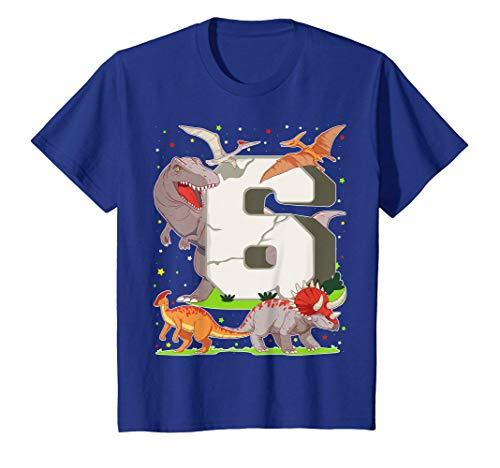 Niños 6 Años Para Regalo De Cumpleaños Figuras de Dinosaurio Camiseta