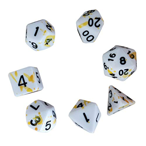 TOYANDONA 7pcs Polyhedral Dices Multi Sided Dices Splatater Dices with Numbers for Boys Girls Roleplay Party Supplies Dices for DND RPG MTG Table Games Board Games Toys Yellow