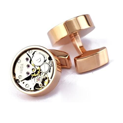 Rockyu カフスボタン メンズ おしゃれ ピンクゴールド 時計カフス メカニカル ラウンドカフス 円型 アンティーク時計 ジルコニア 紫水晶 ステンレス ビジネス ヨーロッパ風 カフリンクス